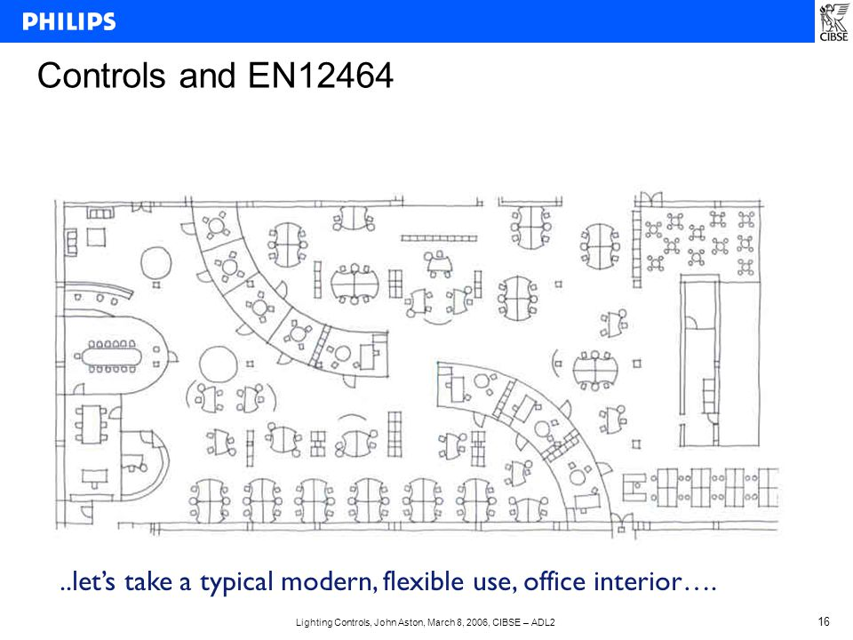 Lighting Controls, John Aston, March 8, 2006, CIBSE – ADL2 16 Controls and EN12464..let's take a typical modern, flexible use, office interior….