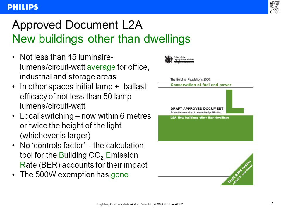 Lighting Controls, John Aston, March 8, 2006, CIBSE – ADL2 3 Approved Document L2A New buildings other than dwellings Not less than 45 luminaire- lumens/circuit-watt average for office, industrial and storage areas In other spaces initial lamp + ballast efficacy of not less than 50 lamp lumens/circuit-watt Local switching – now within 6 metres or twice the height of the light (whichever is larger) No 'controls factor' – the calculation tool for the Building CO 2 Emission Rate (BER) accounts for their impact The 500W exemption has gone