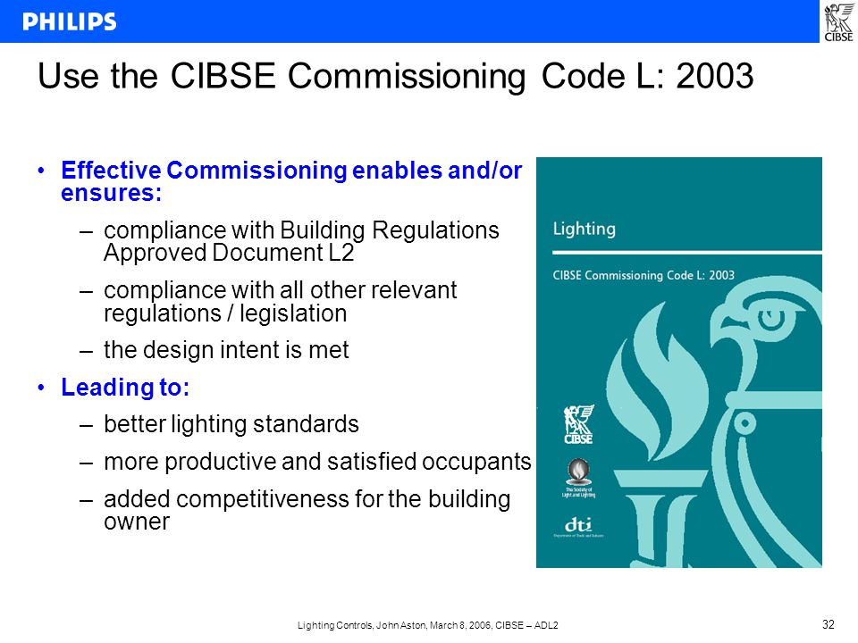 Lighting Controls, John Aston, March 8, 2006, CIBSE – ADL2 32 Use the CIBSE Commissioning Code L: 2003 Effective Commissioning enables and/or ensures: –compliance with Building Regulations Approved Document L2 –compliance with all other relevant regulations / legislation –the design intent is met Leading to: –better lighting standards –more productive and satisfied occupants –added competitiveness for the building owner