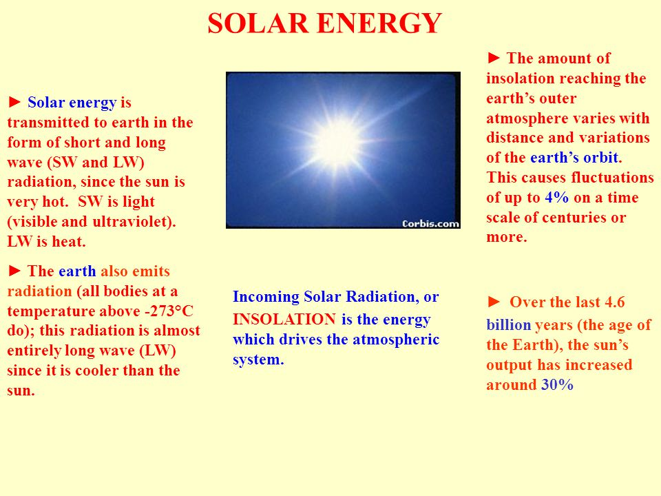 SOLAR ENERGY ► Solar energy is transmitted to earth in the form of short and long wave (SW and LW) radiation, since the sun is very hot.