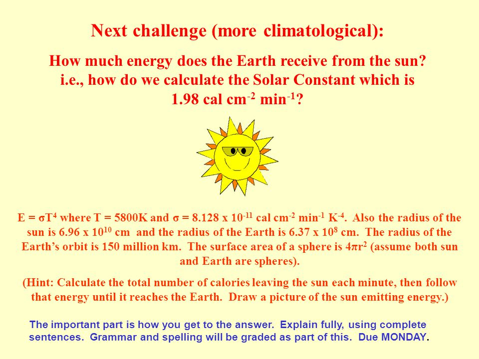 Next challenge (more climatological): How much energy does the Earth receive from the sun.