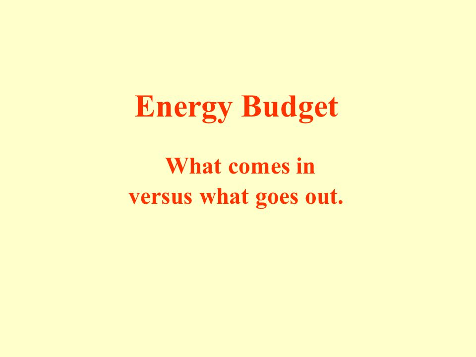 Energy Budget What comes in versus what goes out.