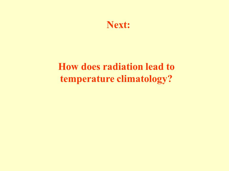 How does radiation lead to temperature climatology Next: