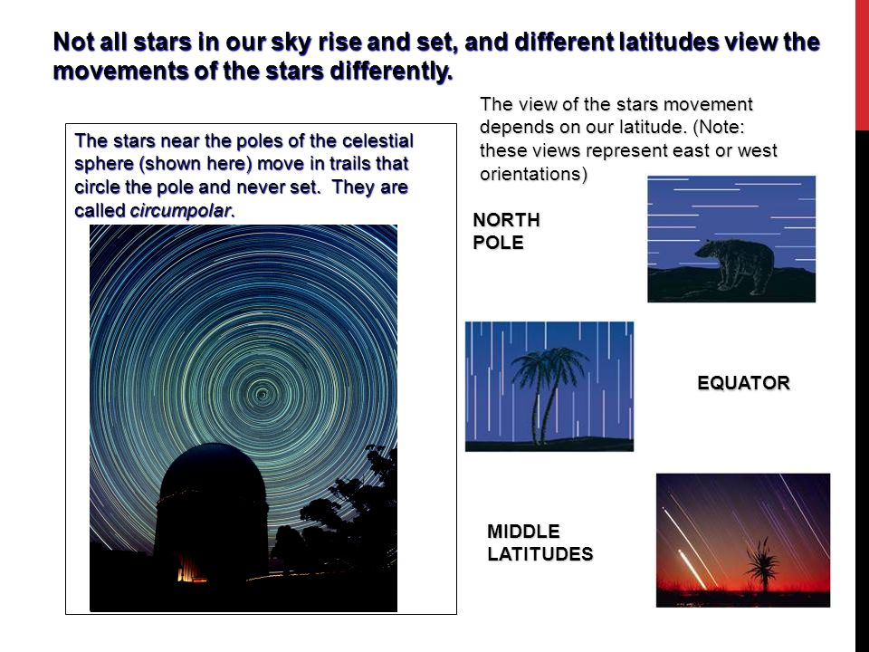 Not all stars in our sky rise and set, and different latitudes view the movements of the stars differently. The stars near the poles of the celestial