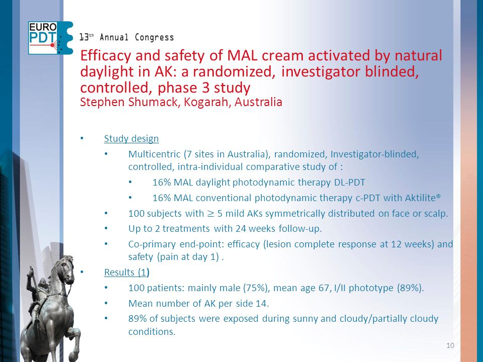 10 Efficacy and safety of MAL cream activated by natural daylight in AK: a randomized, investigator blinded, controlled, phase 3 study Stephen Shumack
