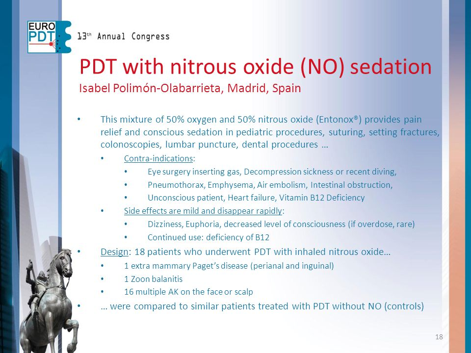 PDT with nitrous oxide (NO) sedation Isabel Polimón-Olabarrieta, Madrid, Spain This mixture of 50% oxygen and 50% nitrous oxide (Entonox®) provides pa