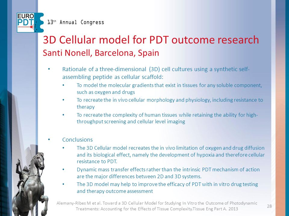 3D Cellular model for PDT outcome research Santi Nonell, Barcelona, Spain Rationale of a three-dimensional (3D) cell cultures using a synthetic self-