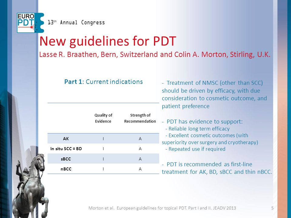 New guidelines for PDT Lasse R. Braathen, Bern, Switzerland and Colin A. Morton, Stirling, U.K. - Treatment of NMSC (other than SCC) should be driven