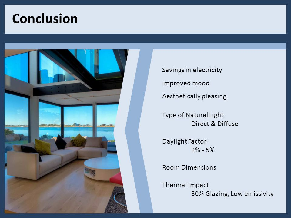 Conclusion Savings in electricity Improved mood Aesthetically pleasing Type of Natural Light Direct & Diffuse Daylight Factor 2% - 5% Room Dimensions Thermal Impact 30% Glazing, Low emissivity