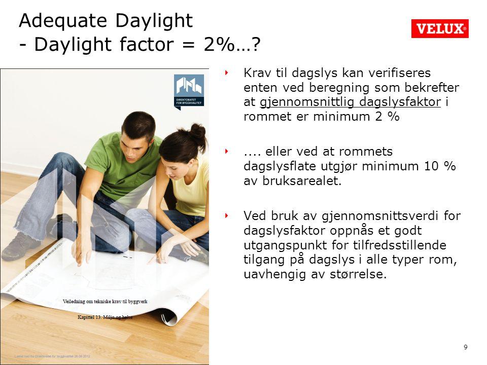 9 Krav til dagslys kan verifiseres enten ved beregning som bekrefter at gjennomsnittlig dagslysfaktor i rommet er minimum 2 %....