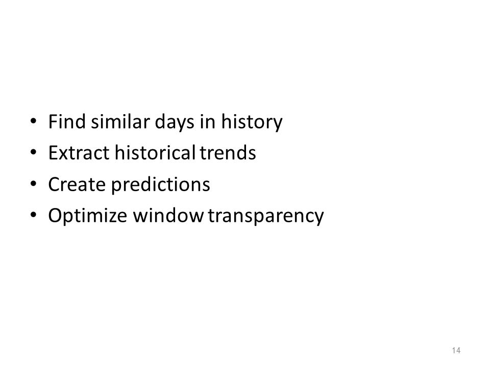 14 Find similar days in history Extract historical trends Create predictions Optimize window transparency
