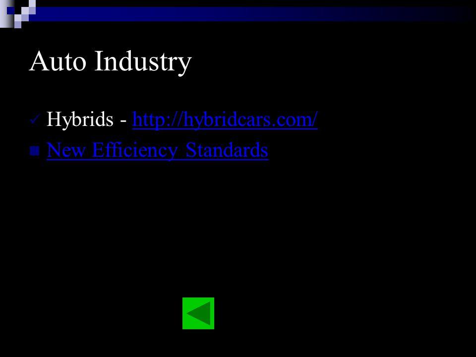 Auto Industry Hybrids - http://hybridcars.com/http://hybridcars.com/ New Efficiency Standards