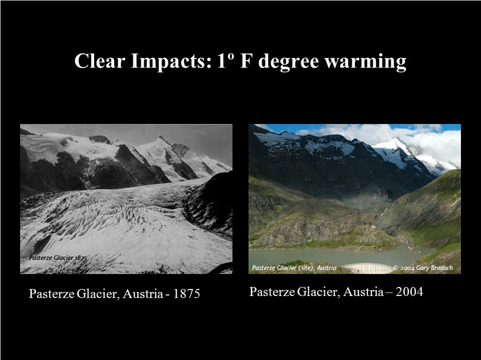 Clear Impacts: 1º F degree warming Pasterze Glacier, Austria - 1875 Pasterze Glacier, Austria – 2004