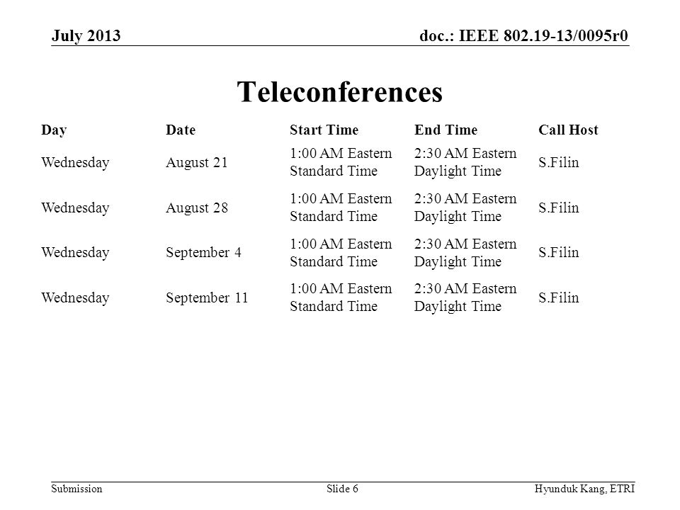 doc.: IEEE 802.19-13/0095r0 Submission September 2013 Interim Objectives Resolve all comments from the third Working Group 2nd Recirculation Letter Ballot Decide on whether the 802.19.1 draft is ready for the sponsor ballot July 2013 Hyunduk Kang, ETRISlide 7