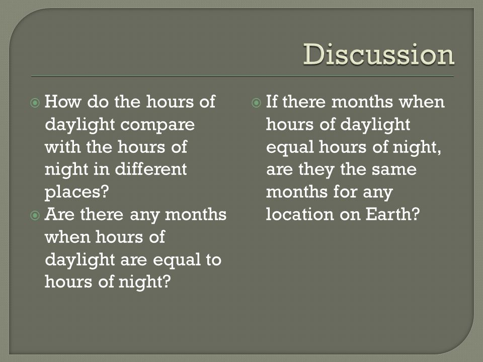  How do the hours of daylight compare with the hours of night in different places.