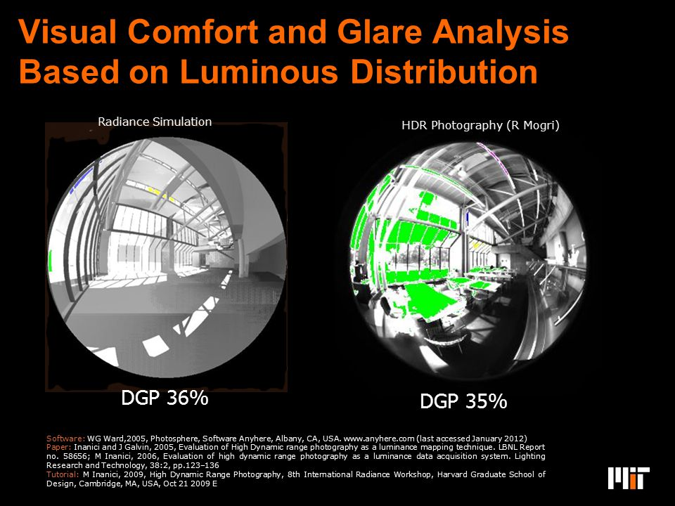 Visual Comfort and Glare Analysis Based on Luminous Distribution Design: Jeff Niema sz DGP 36% Radiance Simulation DGP 35% HDR Photography (R Mogri) S