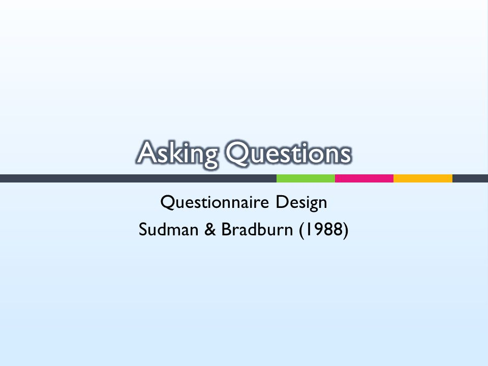 Questionnaire Design Sudman & Bradburn (1988)
