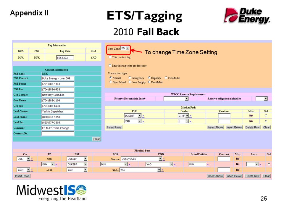 ETS/Tagging 2010 Fall Back 25 Appendix II To change Time Zone Setting