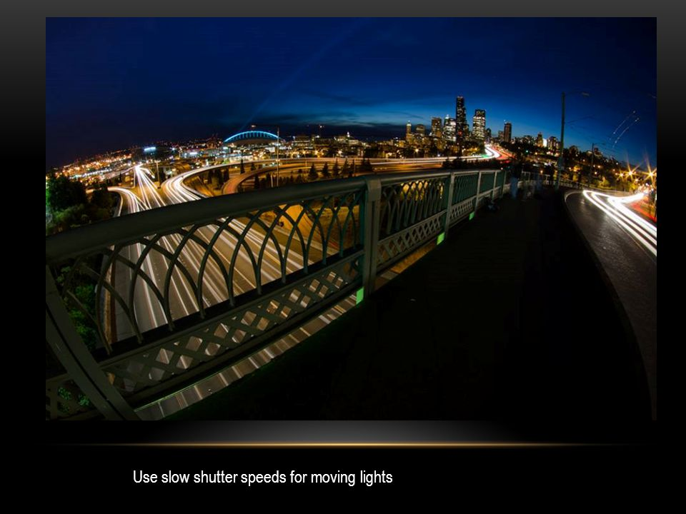Use slow shutter speeds for moving lights