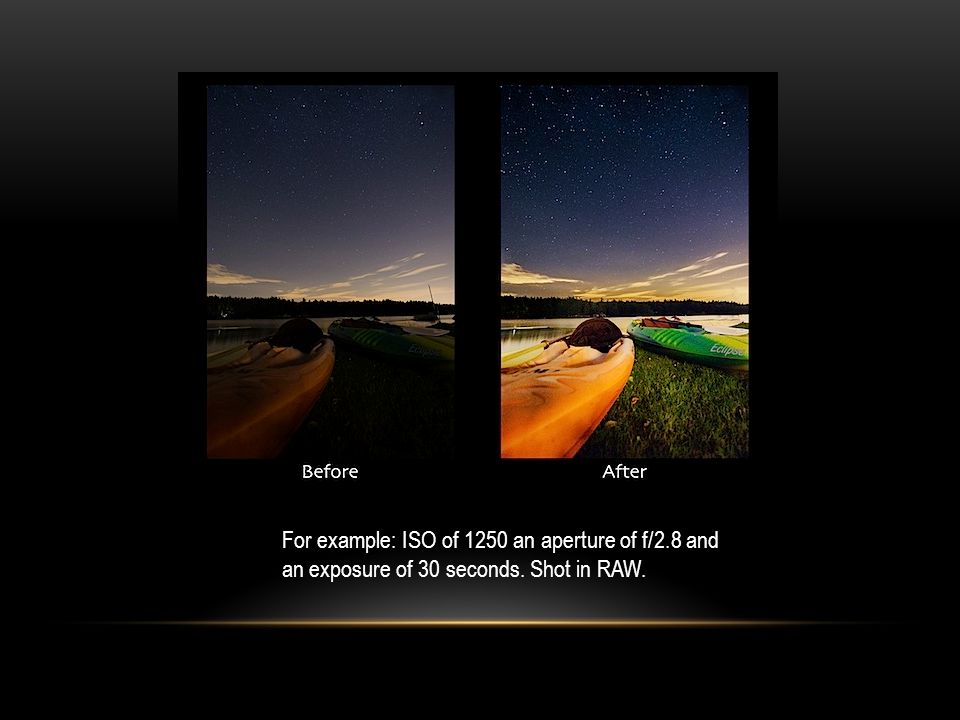 For example: ISO of 1250 an aperture of f/2.8 and an exposure of 30 seconds. Shot in RAW.