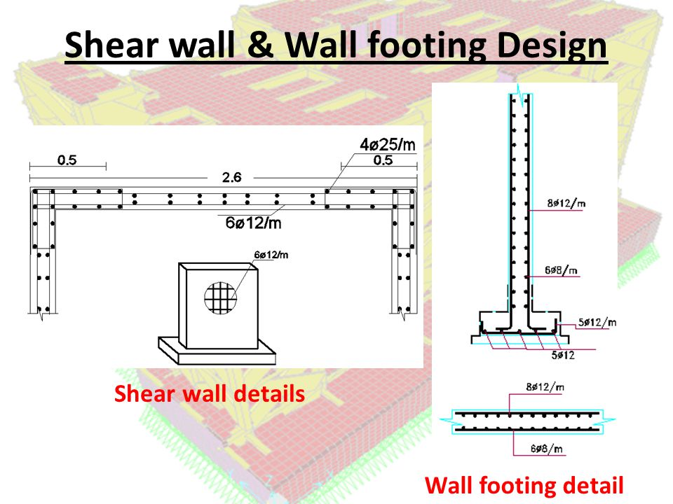 Shear wall & Wall footing Design Shear wall details Wall footing detail