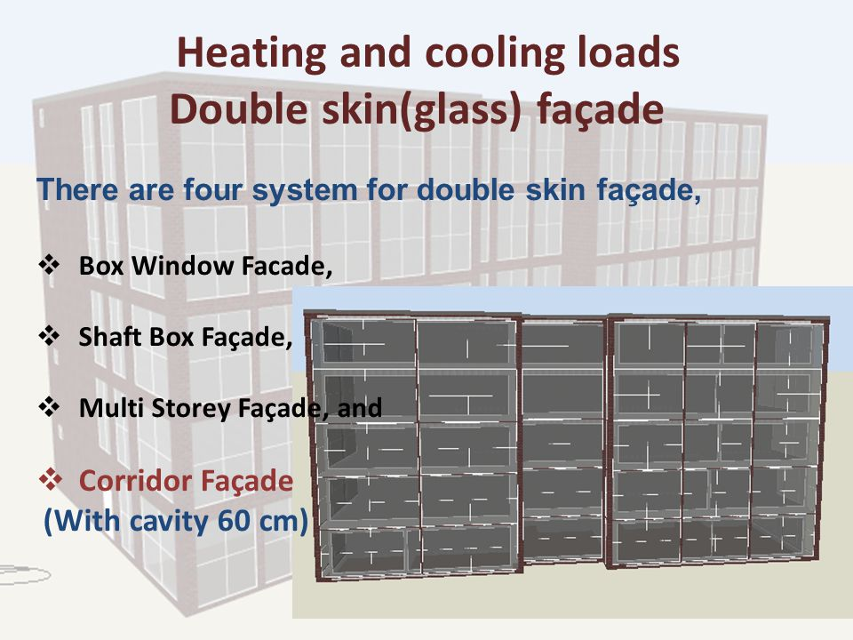Heating and cooling loads Double skin(glass) façade There are four system for double skin façade,  Box Window Facade,  Shaft Box Façade,  Multi Storey Façade, and  Corridor Façade (With cavity 60 cm)