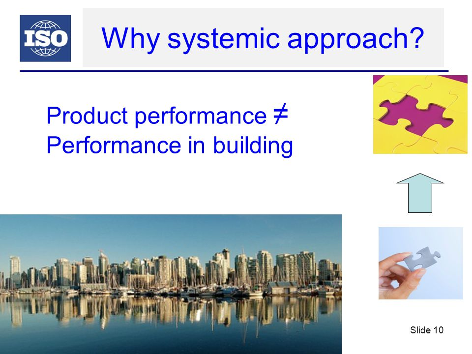 Why systemic approach? Product performance ≠ Performance in building Slide 10