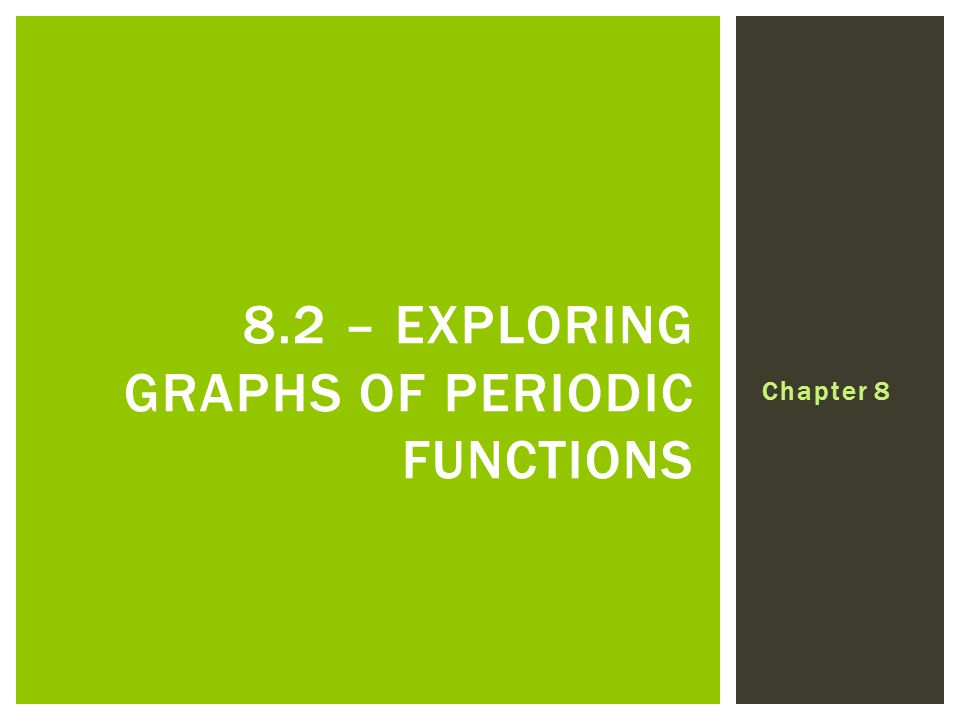 Chapter 8 8.2 – EXPLORING GRAPHS OF PERIODIC FUNCTIONS