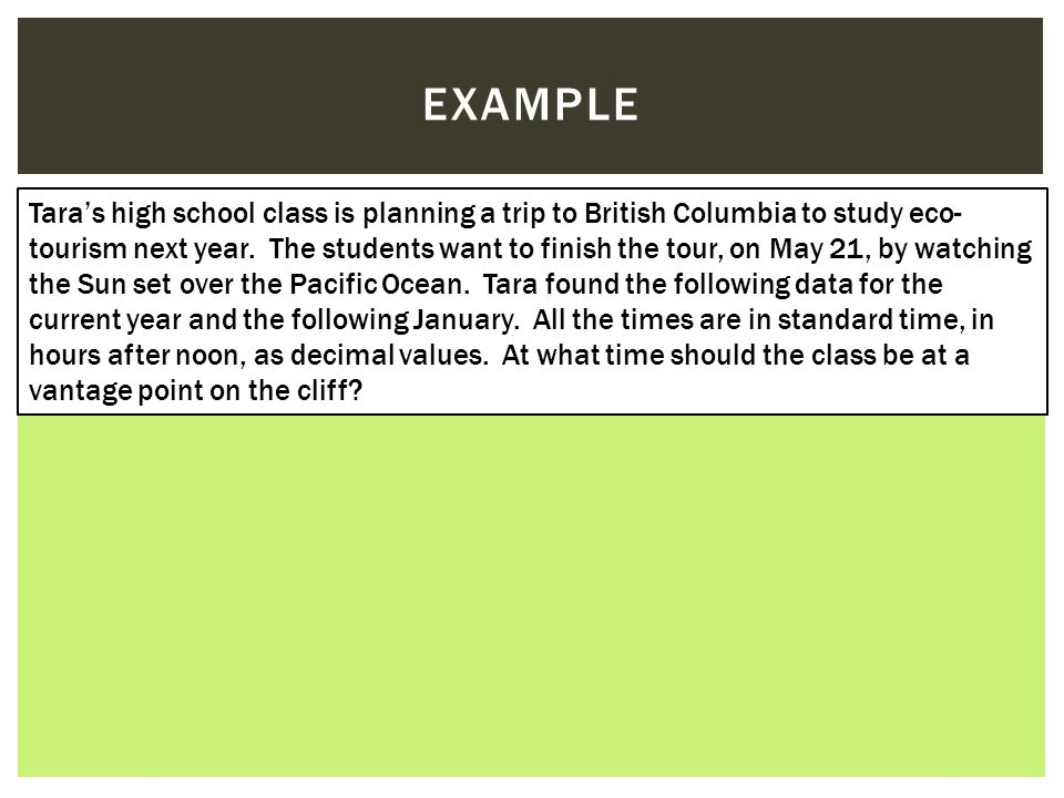 EXAMPLE Tara's high school class is planning a trip to British Columbia to study eco- tourism next year.