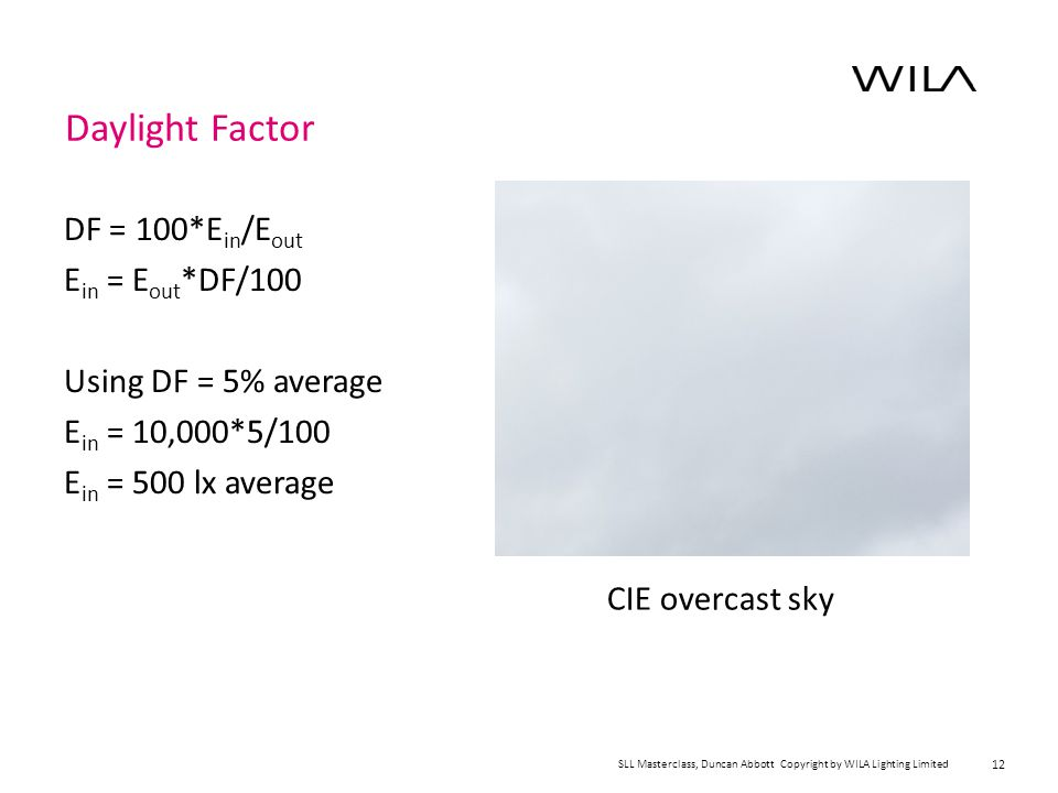 12 Daylight Factor DF = 100*E in /E out E in = E out *DF/100 Using DF = 5% average E in = 10,000*5/100 E in = 500 lx average CIE overcast sky SLL Masterclass, Duncan Abbott Copyright by WILA Lighting Limited