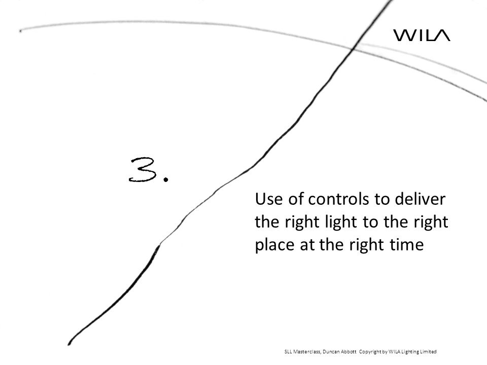 Use of controls to deliver the right light to the right place at the right time SLL Masterclass, Duncan Abbott Copyright by WILA Lighting Limited 3.