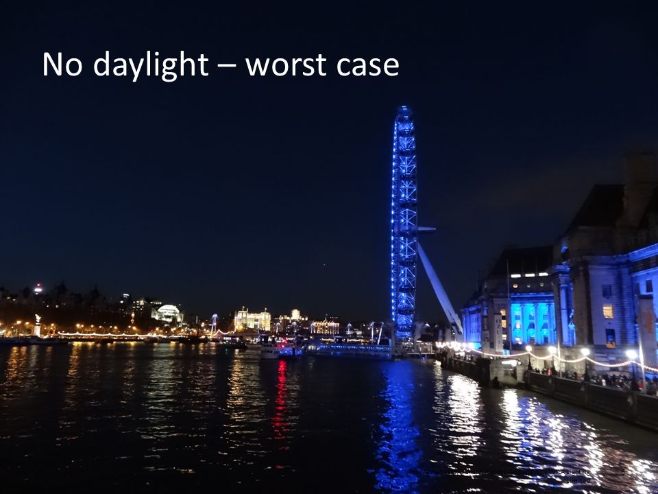 SLL Masterclass, Duncan Abbott Copyright by WILA Lighting Limited 6 No daylight – worst case