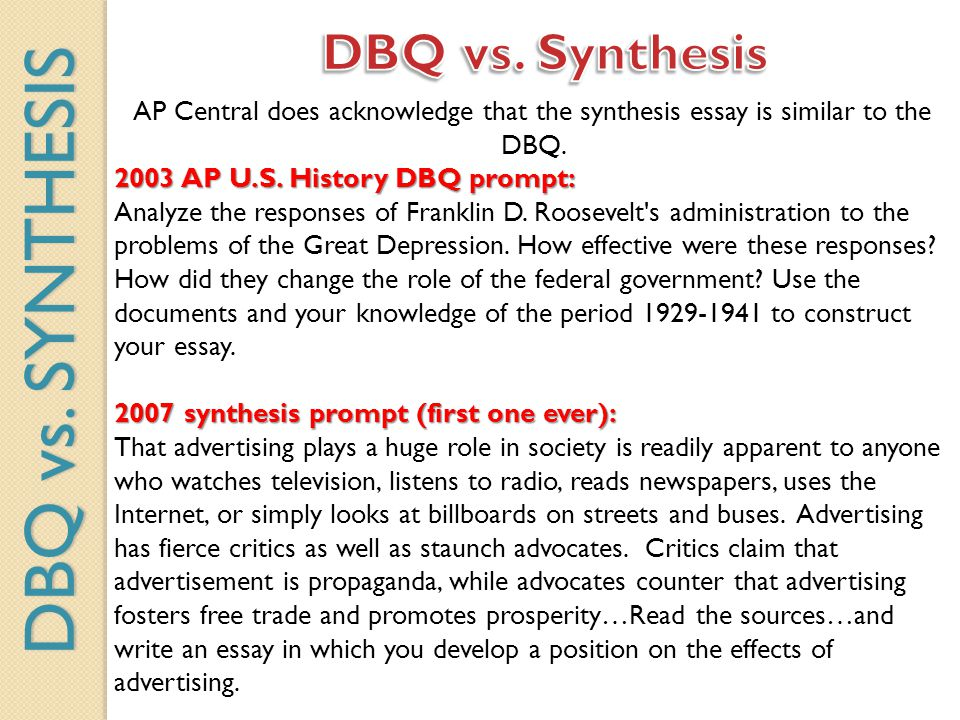 AP Central does acknowledge that the synthesis essay is similar to the DBQ. 2003 AP U.S. History DBQ prompt: 2003 AP U.S. History DBQ prompt: Analyze