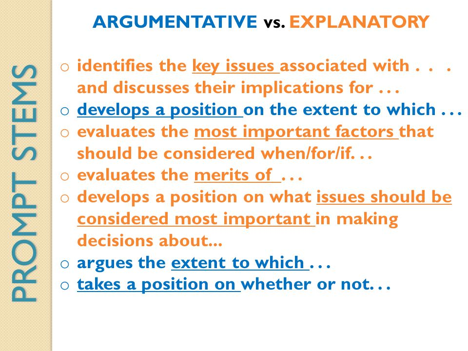 ARGUMENTATIVE vs. EXPLANATORY o identifies the key issues associated with... and discusses their implications for... o develops a position on the exte