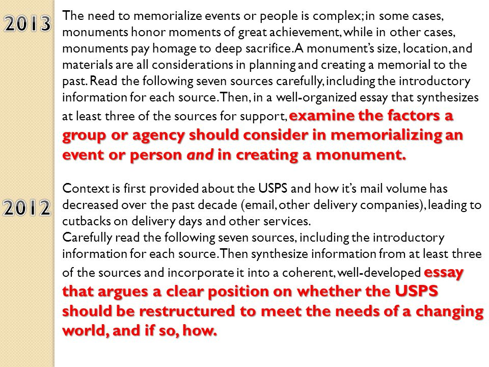 examine the factors a group or agency should consider in memorializing an event or person and in creating a monument.