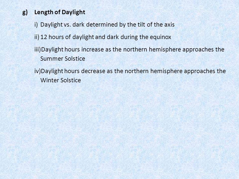 g) Length of Daylight i)Daylight vs.