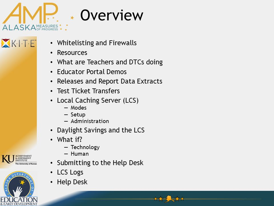 Overview Whitelisting and Firewalls Resources What are Teachers and DTCs doing Educator Portal Demos Releases and Report Data Extracts Test Ticket Transfers Local Caching Server (LCS) —Modes —Setup —Administration Daylight Savings and the LCS What if.