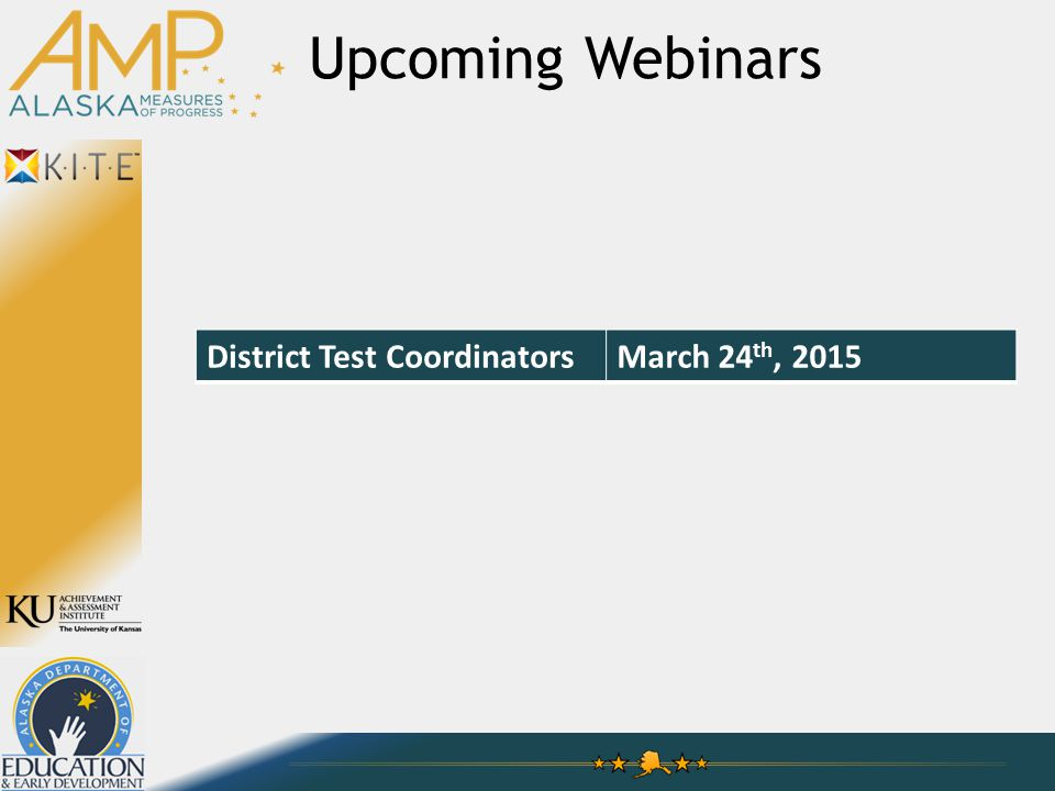 Upcoming Webinars District Test CoordinatorsMarch 24 th, 2015