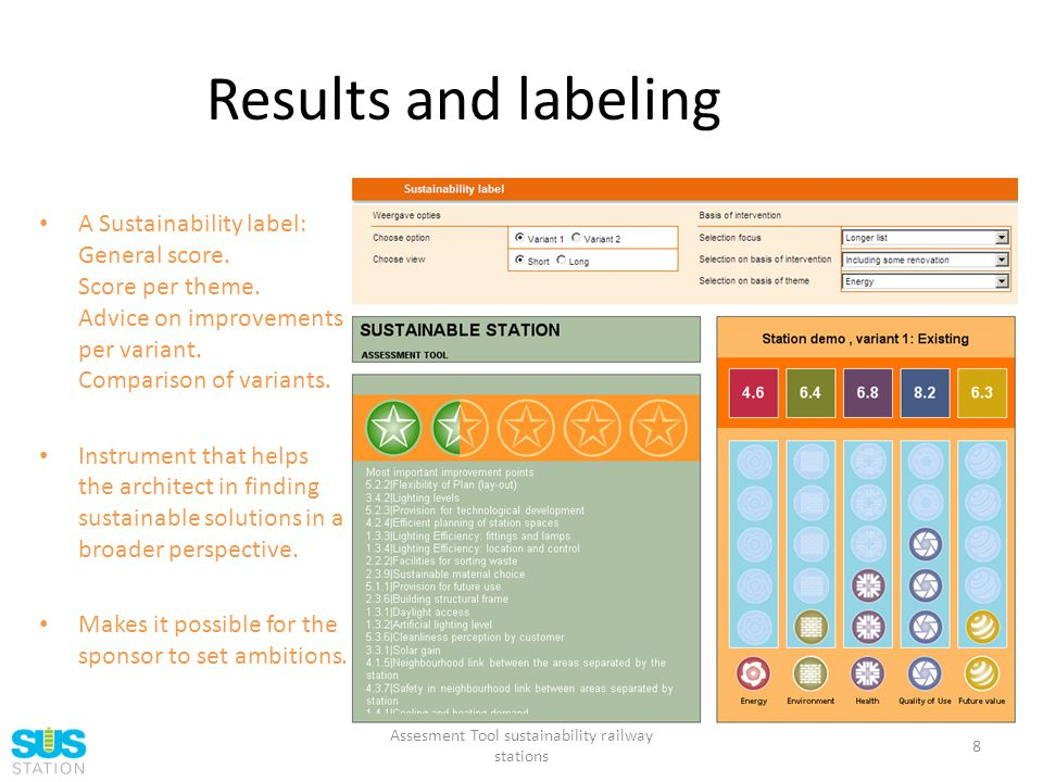 Results and labeling A Sustainability label: General score.