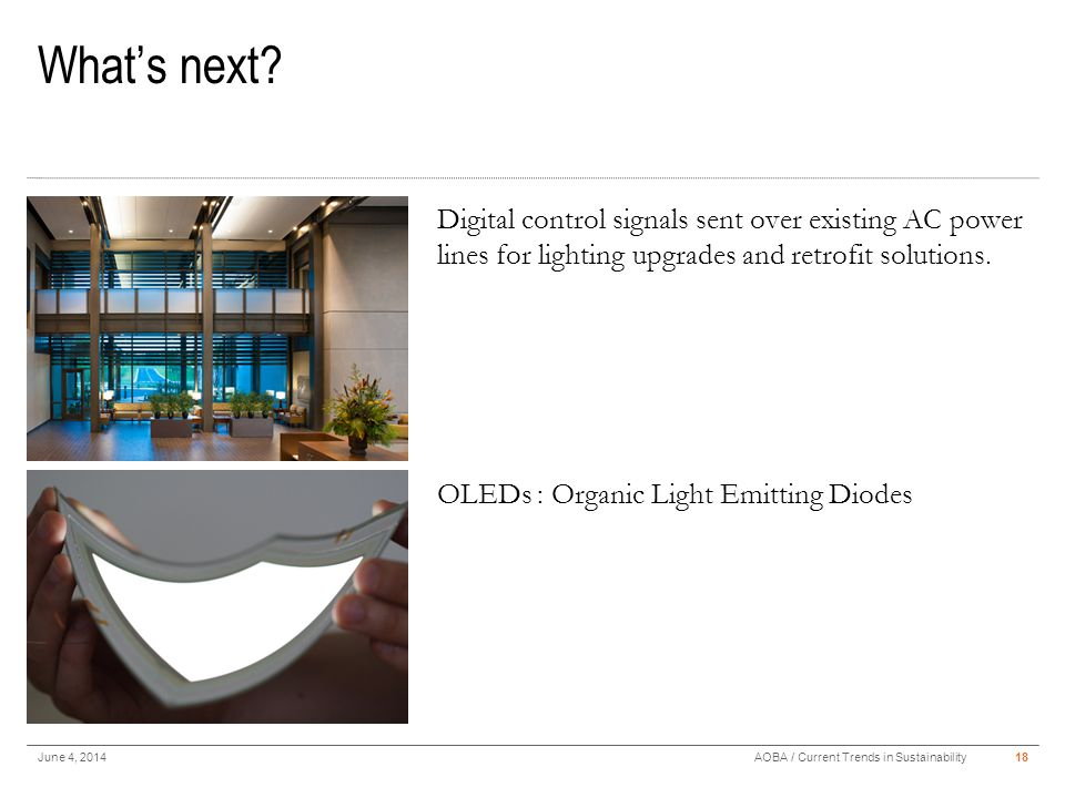 What's next? June 4, 201418AOBA / Current Trends in Sustainability Digital control signals sent over existing AC power lines for lighting upgrades and