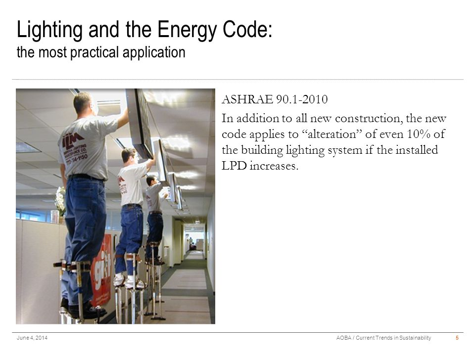 Interior Lighting Automatic Lighting Shutoff – ASHRAE 90.1 Section 9.4.1.1 June 4, 20146AOBA / Current Trends in Sustainability Time clock or occupancy sensors.