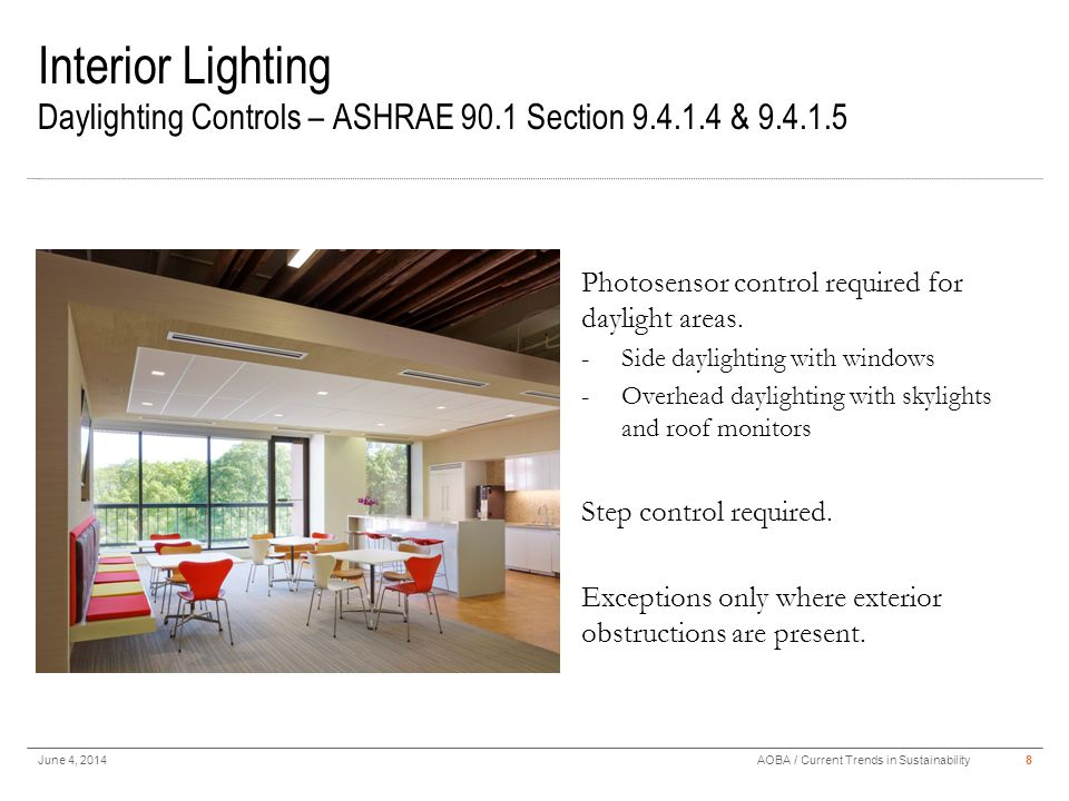 Interior Lighting Daylighting Controls – ASHRAE 90.1 Section 9.4.1.4 & 9.4.1.5 June 4, 20148AOBA / Current Trends in Sustainability Photosensor contro