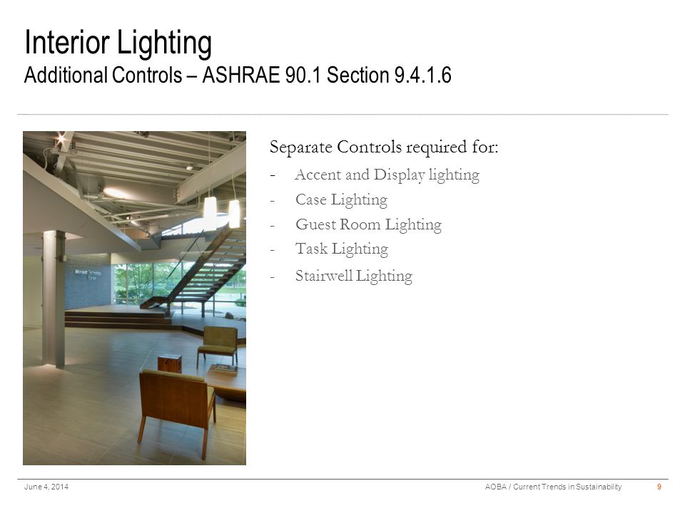 Interior Lighting Additional Controls – ASHRAE 90.1 Section 9.4.1.6 June 4, 20149AOBA / Current Trends in Sustainability Separate Controls required fo