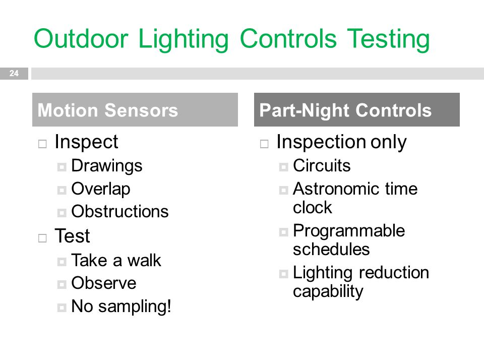 Outdoor Lighting Controls Testing  Inspect  Drawings  Overlap  Obstructions  Test  Take a walk  Observe  No sampling!  Inspection only  Circ