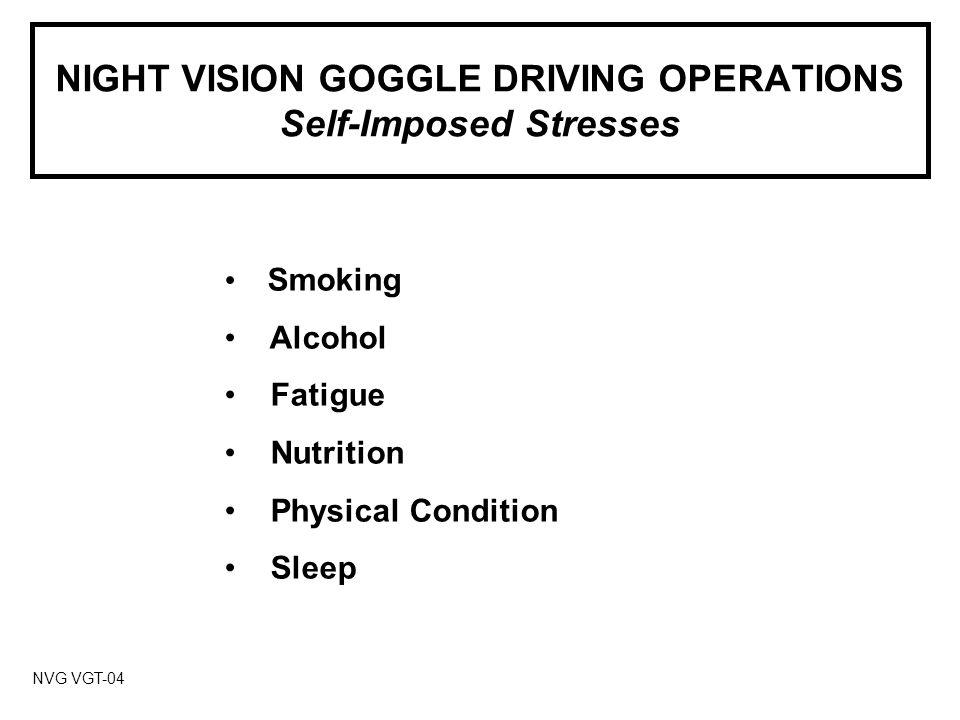 NIGHT VISION GOGGLE DRIVING OPERATIONS AN/PVS-5 SERIES NVG NVG VGT-15A1