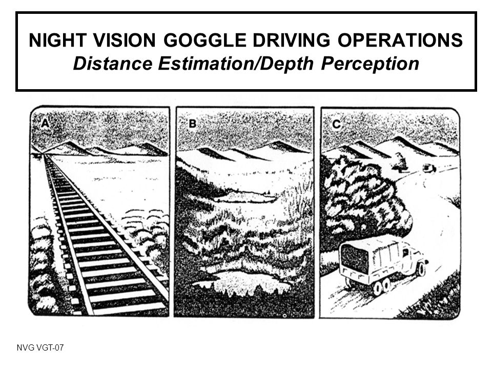 NIGHT VISION GOGGLE DRIVING OPERATIONS Distance Estimation/Depth Perception NVG VGT-07