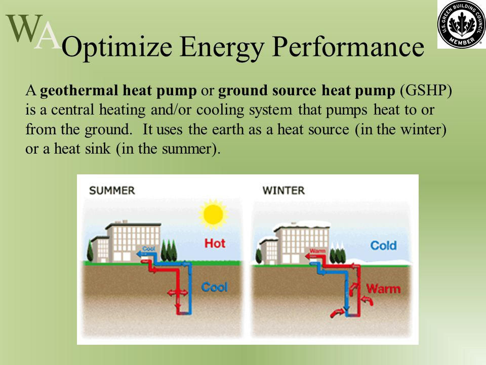 W A Optimize Energy Performance A geothermal heat pump or ground source heat pump (GSHP) is a central heating and/or cooling system that pumps heat to or from the ground.