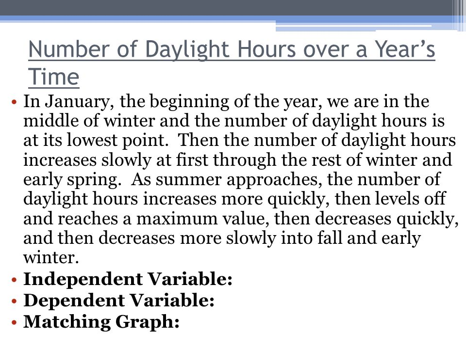 Number of Daylight Hours over a Year's Time In January, the beginning of the year, we are in the middle of winter and the number of daylight hours is