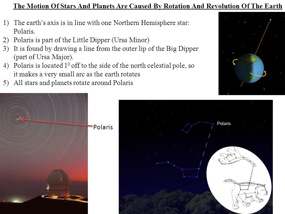 The Motion Of Stars And Planets Are Caused By Rotation And Revolution Of The Earth 1)The earth's axis is in line with one Northern Hemisphere star: Po