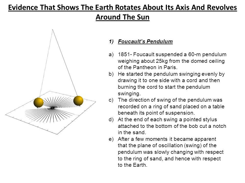 Evidence That Shows The Earth Rotates About Its Axis And Revolves Around The Sun 1)Foucault's Pendulum a)1851- Foucault suspended a 60-m pendulum weig